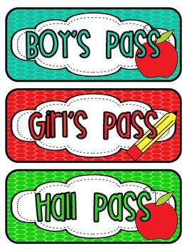 Hall Passes...Polka Dot Theme