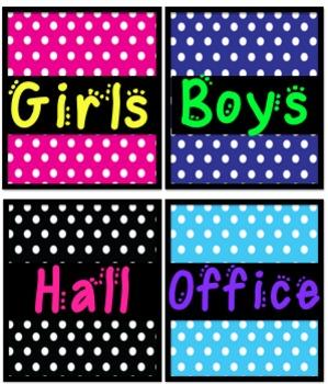Hall and Bathroom Passes - Polka Dot Themed!