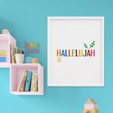 Hallelujah wall art minimalist - Bible quote poster printable