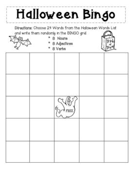 Halloween Word Bingo and Writing Activity