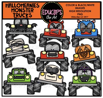 Hallomeanies Monster Trucks Clip Art Bundle {Educlips Clipart}