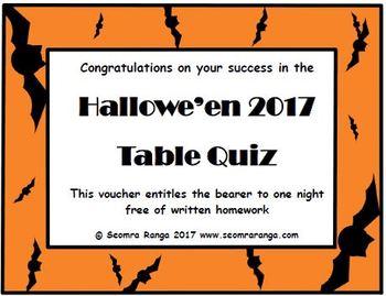 Hallowe'en 2017 Table Quiz