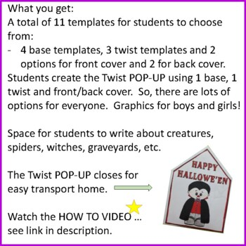 Hallowe'en Crafts - Twist POP-UP Craftivity