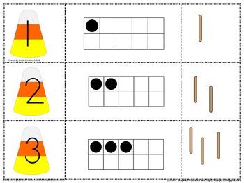 Halloween 0-20 puzzles-Number, tens frame, bundles