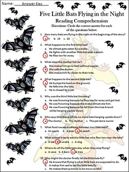 Halloween Language Arts: Five Little Bats Flying in the Night Activity Packet