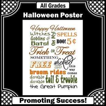 Halloween Poster for Classroom Decorations