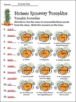 Halloween Activities: Sixteen Runaway Pumpkins Halloween Reading Activity Packet