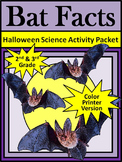 Halloween Activities: Bat Facts Halloween Science Activity 2nd&3rd Grade - Color