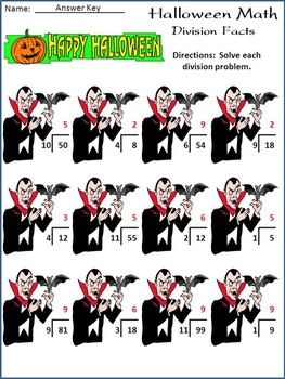Halloween Worksheets: Halloween Math Drills Activity Packet - Color
