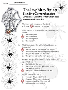 Halloween Activities: Itsy Bitsy Spider Activity Packet - Color