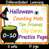 Halloween 0-10 Counting Mats, Ten Frames, Clip Cards and P
