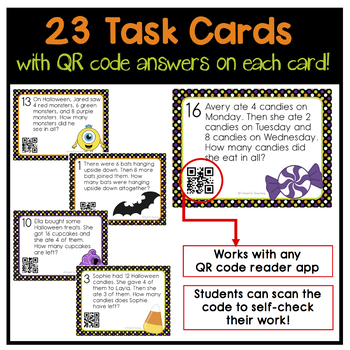 Halloween 1 & 2 Step Word Problem Task Cards (with QR codes!)