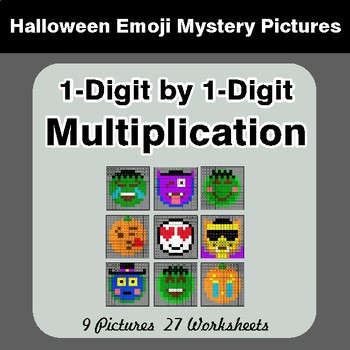 Halloween: 1-Digit by 1-Digit MULTIPLICATION - Color-By-Number Math Mystery Pictures