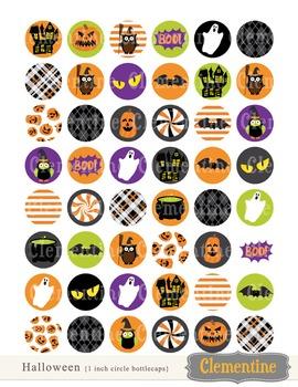 Halloween 1 inch circles bottlecap images