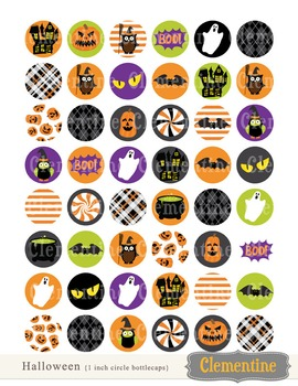 Halloween 1 inch circles bottlecap images