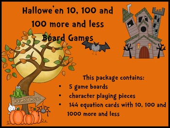 Hallowe'en 10, 100 and 1000 More and Less Board Games