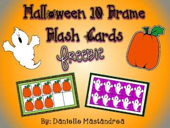 Halloween 10 Frame Flash Cards Freebie