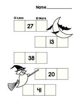 Halloween 10 more 10 Less common core worksheet