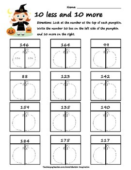 Halloween 10 more and 10 Less Worksheet