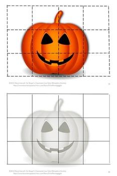 Halloween Activities Cut Paste Puzzles, Fine Motor Skills, Kindergarten Centers