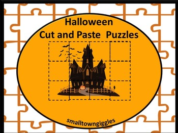 Halloween Cut and Paste Puzzles, Fine Motor Skills, Kinder