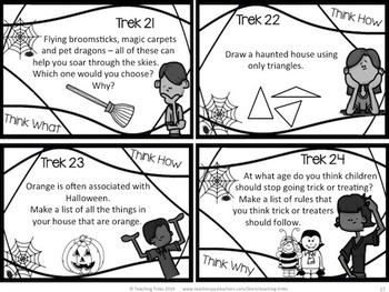 Halloween Activities: Halloween Writing, Discussion Creative Thinking Task Cards