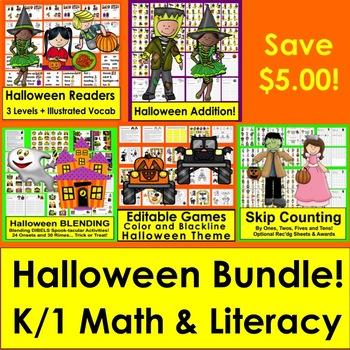 Halloween Activities Bundle:Readers, Sight Words, Adding, Blending, SkipCounting