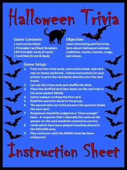 Halloween Activities: Halloween Trivia Card Game Bundle - Color & B/W
