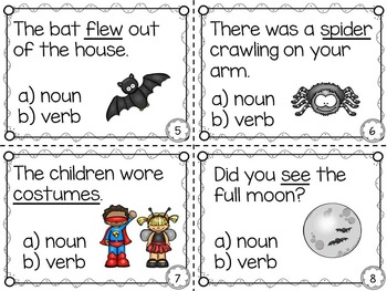 Halloween Nouns and Verbs Task Cards