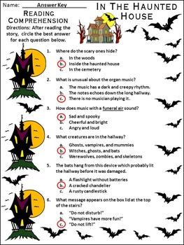 Halloween Reading Activities: In the Haunted House Halloween Activity - Color