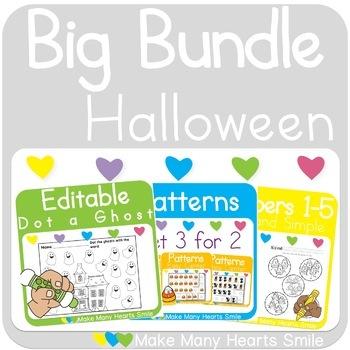Halloween Activities: Bingo, Math and Letters Practice