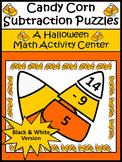 Halloween Activities: Candy Corn Subtraction Puzzles Halloween Math Activity -BW