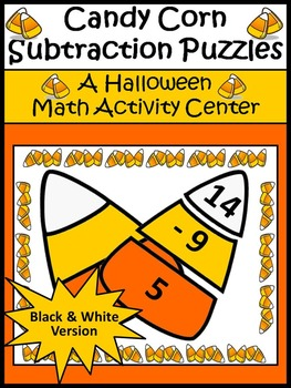 Halloween Activities: Candy Corn Subtraction Puzzles Halloween Math Activity -BW