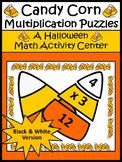 Halloween Math Activities: Candy Corn Multiplication Puzzles Math Activity - BW