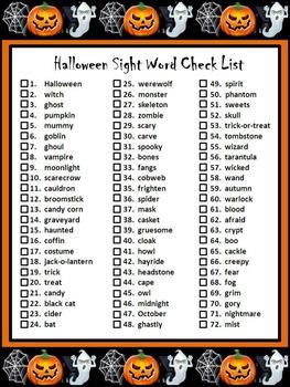 Halloween Word Wall: Halloween Words Flashcard Set