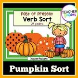 Halloween Sorts for Past or Present Verbs PUMPKINS