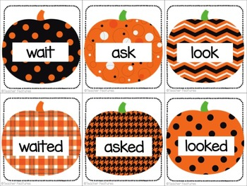 Halloween Sorts for Past or Present Verbs PUMPKINS