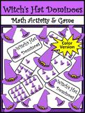 Halloween Games Activities: Witch's Hat Dominoes Halloween Math Game - Color