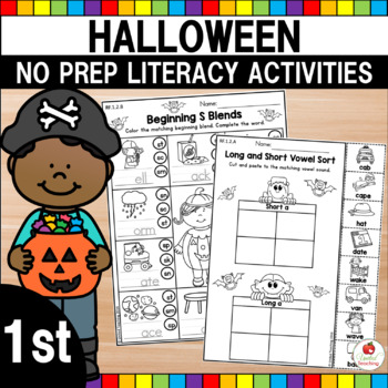 Halloween 1st Grade No Prep Language Arts Worksheets