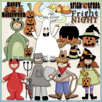 Halloween Clip Art 2 - Trick or Treat Clip Art - Costumes - CU Clip Art & B&W