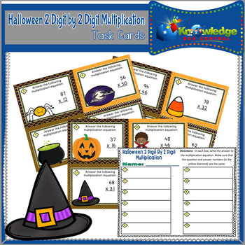 Halloween 2 Digit By 2 Digit Multiplication Task Cards With Response Sheet
