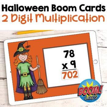 Halloween Math - 2 Digit Multiplication Digital Task Cards - BOOM Cards