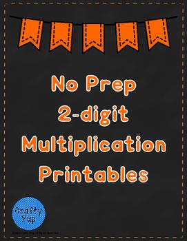 Halloween 2 Digit Multiplication No Prep Printables