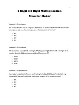 Halloween 2-Digit Multiplication Word Problems: Monster Maker Activity