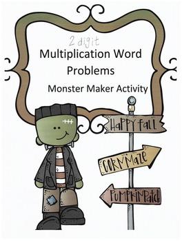 Halloween 2-Digit Multiplication Word Problems: Monster Ma