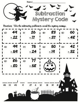 Halloween 2 Digit Subtraction