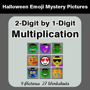 Halloween: 2-Digit by 1-Digit MULTIPLICATION - Color-By-Number Math Mystery Pictures