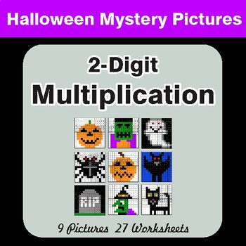 Halloween: 2-Digit by 2-Digit MULTIPLICATION - Color-By-Number Math Mystery Pictures