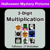 Halloween: 2-Digit by 2-Digit MULTIPLICATION - Color-By-Number Mystery Pictures