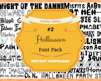 Halloween #2 Font Pack Themed Computer .TTF Font Pack - 33 Styles